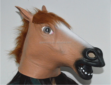 Creepy Full Head Animal Halloween Costume Latex Horse Head Mask
