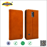 Premium Geniune Real Leather Book Style Wallet Case for Samsung Galaxy S5 with Stand Function and Card Slots