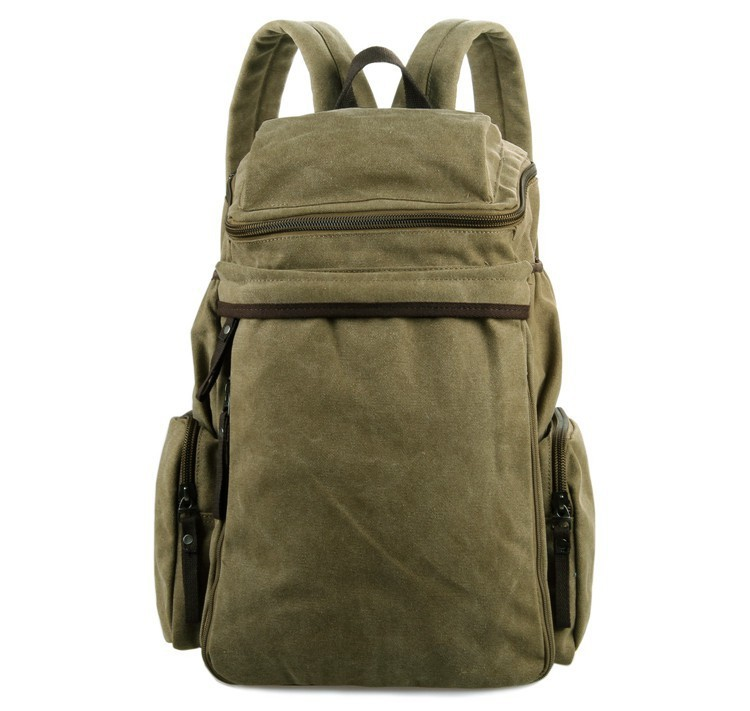 JMD Casual Canvas Backpack Bookbag Schoolbag Hiking Bag Army Green Color Online Wholesale 9016C