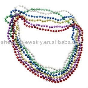 "33"" 7 mm Assorted Mardi Gras Beads necklace"