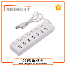 Convenient usb socket 7 port USB 2.0 HUB with power switches saving energy