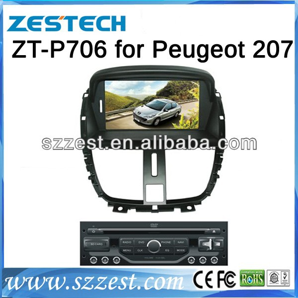 For PEUGEOT 207 Car dvd gps navigation with Bluetooth Radio AM/FM A8 chipset ZT-P706