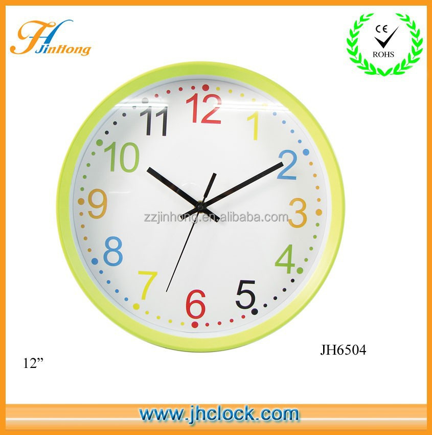 Round Colorful Numbers Wall Clock