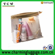 Transparent PU leather with zipper closure clear pvc cosmetic bag