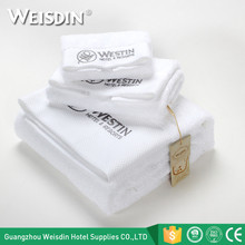 WEISDIN high quality embroidered dobby 100% cotton bath towels set for luxury hotel