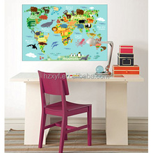 wallpaper world map decoration easy installation eco-friendly EVA animal world map with glue backing for kids