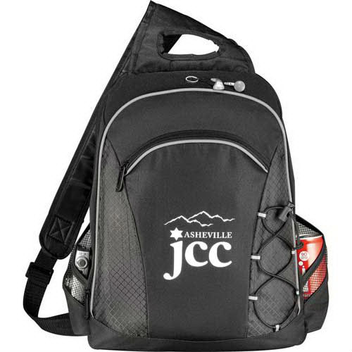 "Summit checkpoint-friendly laptop sling bag. Holds most 15"" laptops and comes with your logo."