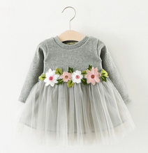 Latest Round Collar Embroidery Baby Girl Winter Dresses Long Sleeve Pink Baby Cotton Frocks Designs