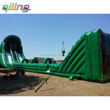 Funny Commercial amazon inflatable zipline with giant slide Ropeway for adults and children