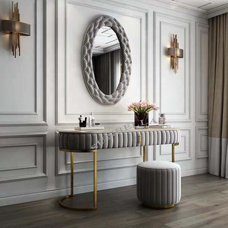 Dressing table set modern design dresser fabric with marble top stainless steel frame console table with mirror