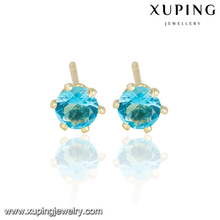 23752 xuping stud simple gold earring designs for women 14k gold color fashion design earrings, imitation 1 gram gold jewellery