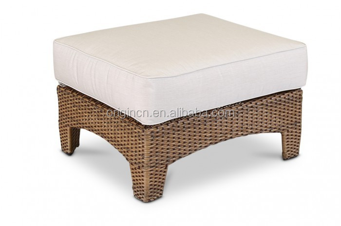 Dubai luxury plastic rattan ottoman footrest sofa furniture living room or outdoor small chair