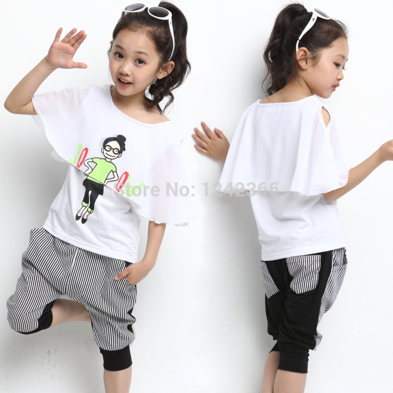 Free Shipping 2015 Summer Girls Boys Casual Clothing Set T-shirt+Pants Children Kids Baby Outerwear Clothing Set Clothes Suit