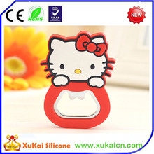 3D cat shape soft PVC fridge magnet with bottle opener