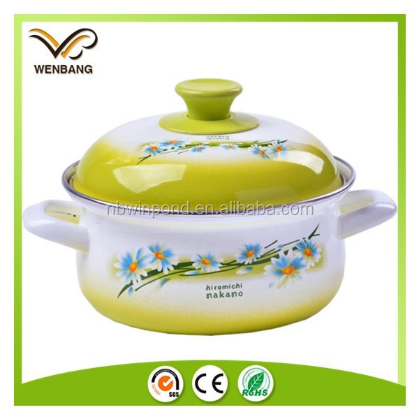 Enamel casserole with flower printing white enamel cookware set