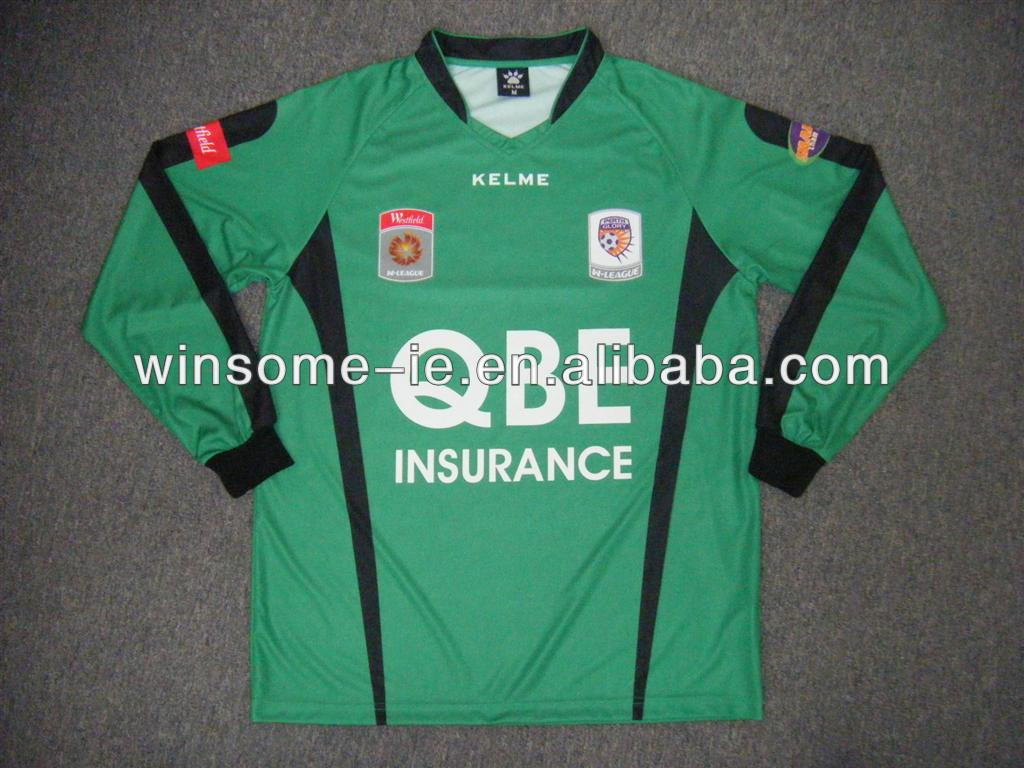 100% Polyester Wicking Yarn Sublimation Soccer Goal Keeper Jersey