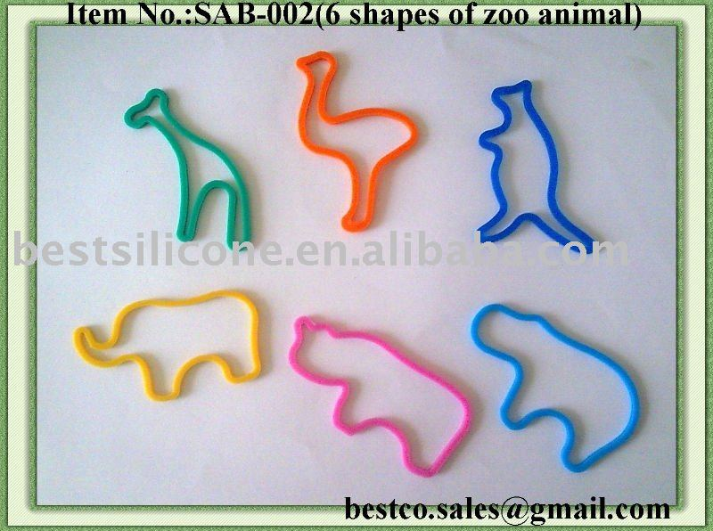Zoo animal shaped silicone rubber band