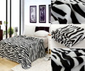Zebra Animal Black/White Blanket Bedding Throw Fleece King Soft New Design