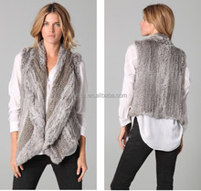 YR078 Women Knitted Rabbit Fur Waistcoat/Fahsion style Top Quality rabbit fur vest lady