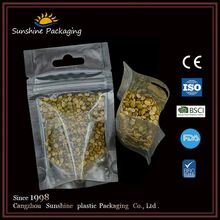 Plastic transparent three side sealed laminated beef jerky packaging bag with zipper with embossed grain supply