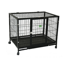 folding heavy duty metal square tube dog kennel with wheels