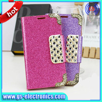 China wholesale hot sell Lingge diamond line folio wallet PU leather case for iPhone 5 with diamond snap blu cell phone cases