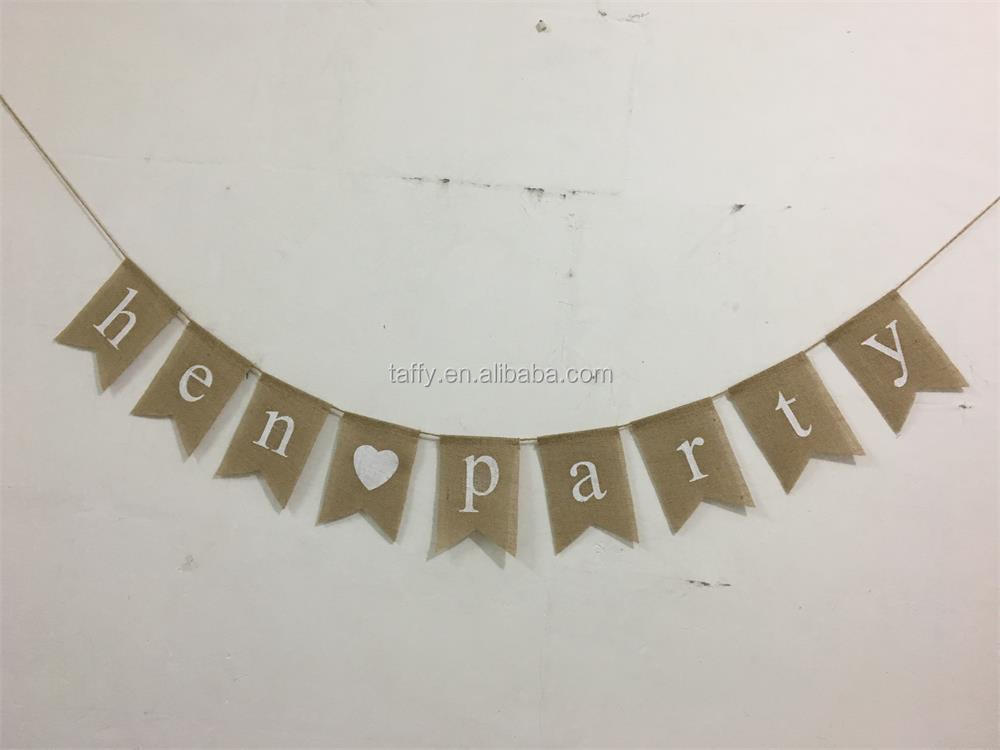 new china factory wholesale bachelor hen party decoration burlap hen party Bunting banner