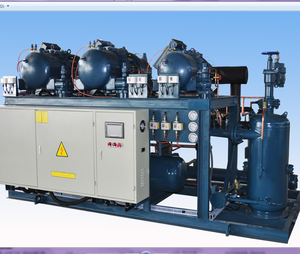 multi compressors refrigeration condensing unit with screw compressors for low temperature