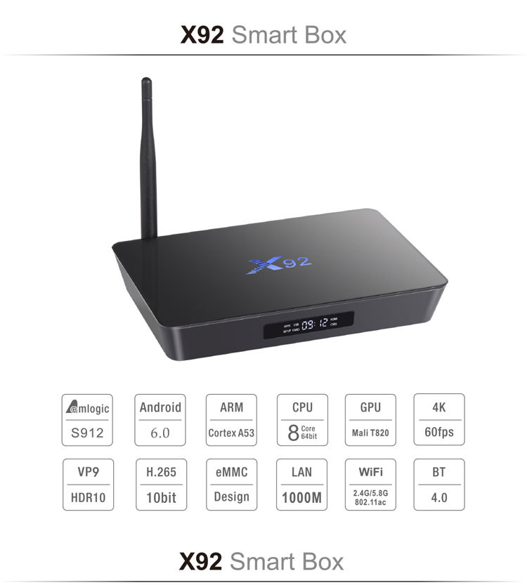 New!X92 Smart TV Box Android 6.0 TV Box 3+32GB Amlogic S912