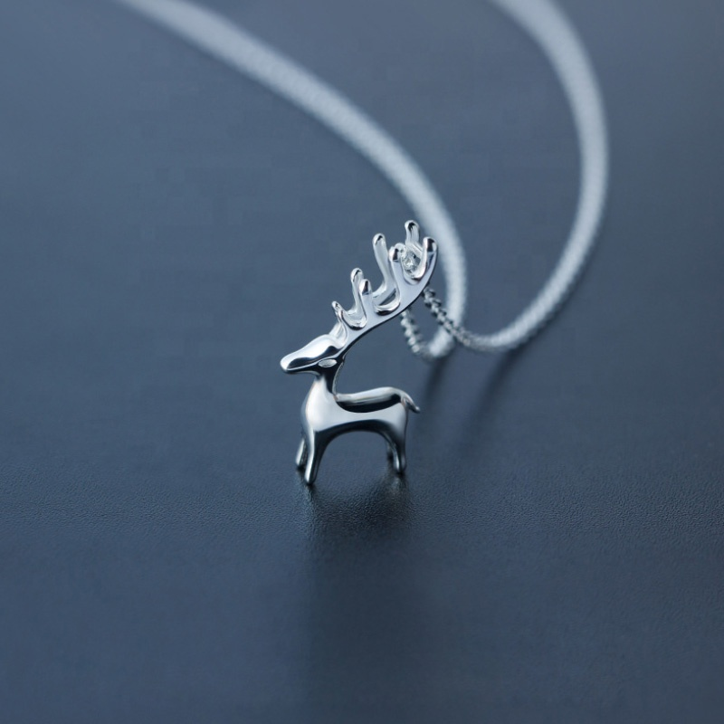 2018 <strong>Fashion</strong> 925 Sterling Silver Elk Deer Choker Necklace Pendant Jewelry