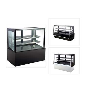 Flat glass showcase mini cake display fridge counter