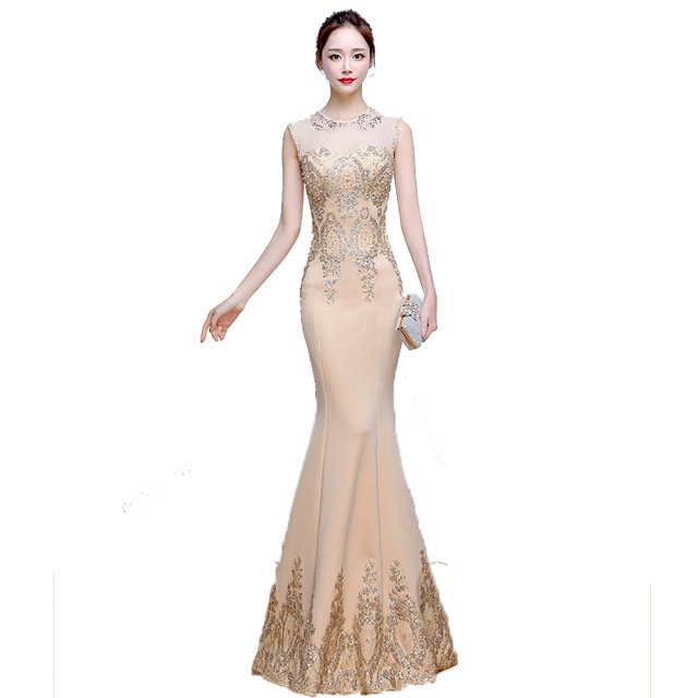 New 2019 fashion round neck sequined beaded evening dress china