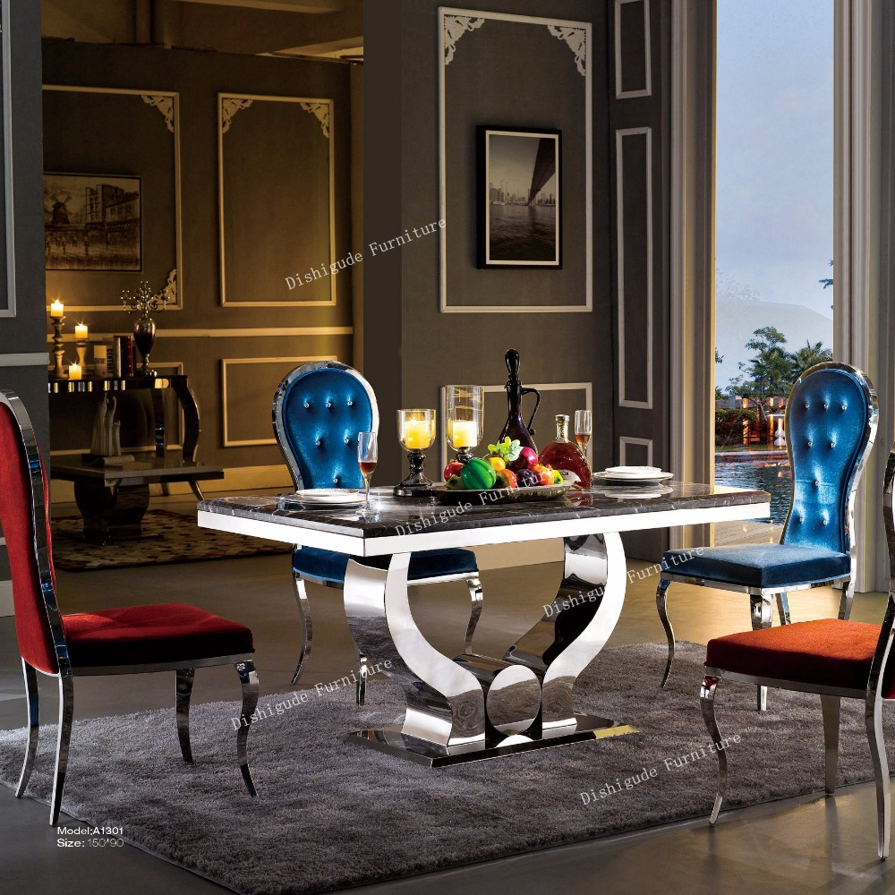 Hot sale model noble and well-spoken marble top stainless steel dining table