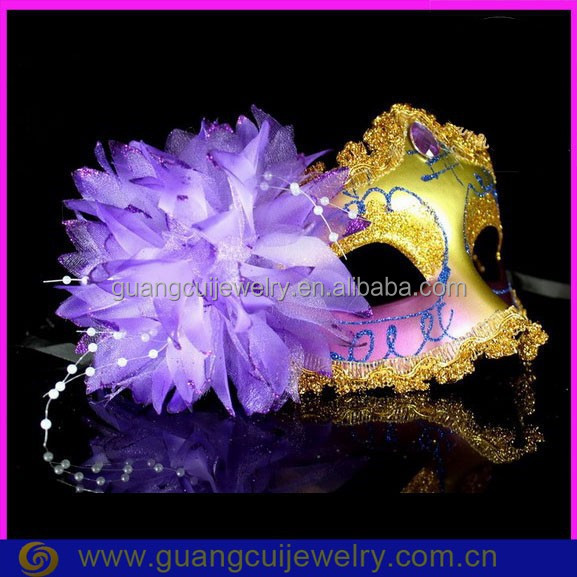 fashion plastic shiny purple stone venetian mask and flower for party