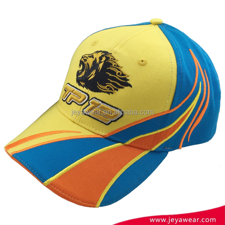 Custom High Quality Colorful Flat Embroidery Baseball Caps