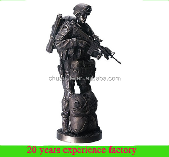 high quality resin bronze finish military soldier statues military action figure for sale