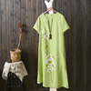 The summer Chinese style ladies cotton linen dress long loose cheongsam qipao dresses for women