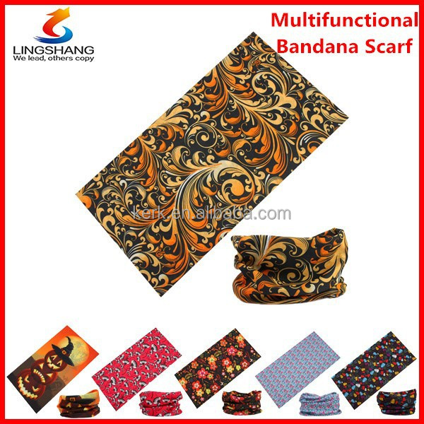 LINGSHANG magic multifunctional headwear, custom head bandana with clients' design and logo customized bandana