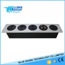 Hotel Room Media Hub/Office Desktop tabeltopAluminum Panel Socket with audio rj45and usb charging