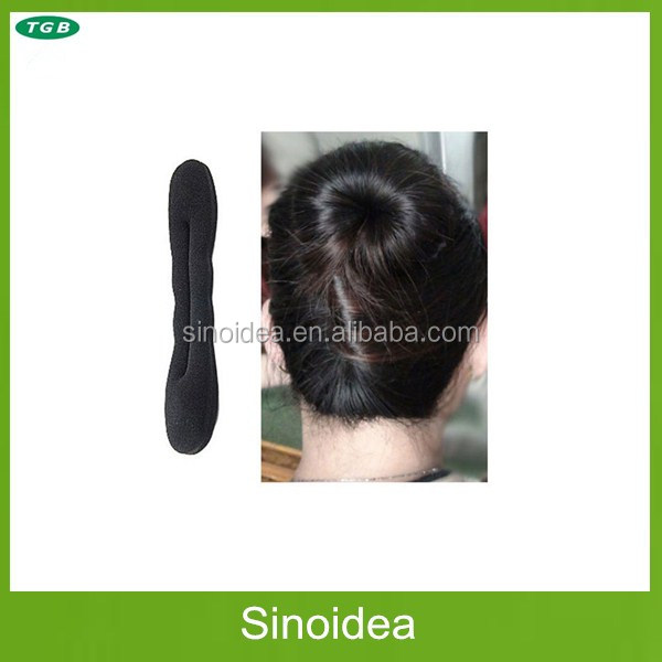 2017 wholesale black magic foam hair curl sponge products hair styling donut bun maker clip roller french twist tool