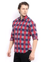 Locomotive Red & Navy Slim Fit Casual designer check shirts for men