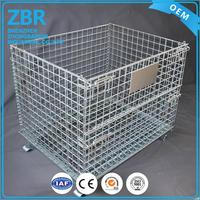 Professional industrial stackable wire mesh pallet cage steel containers