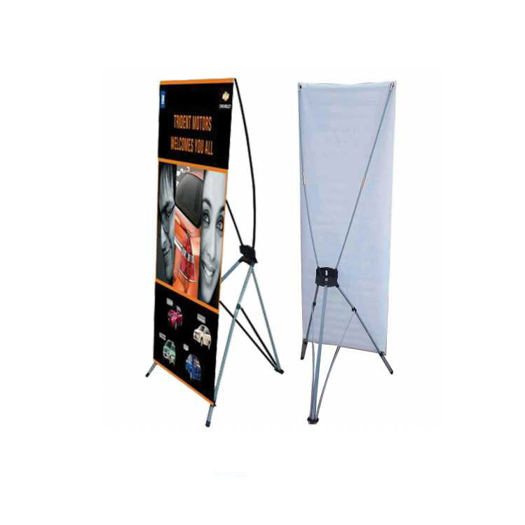 Classical Advertising Display Tradeshow Folded Iron Poles Christmas X Rollup Stand