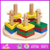 2015 New kids Wooden stacking and shape puzzle,popular children stacking toy,hot sale Wooden Preschool stacking W13E014