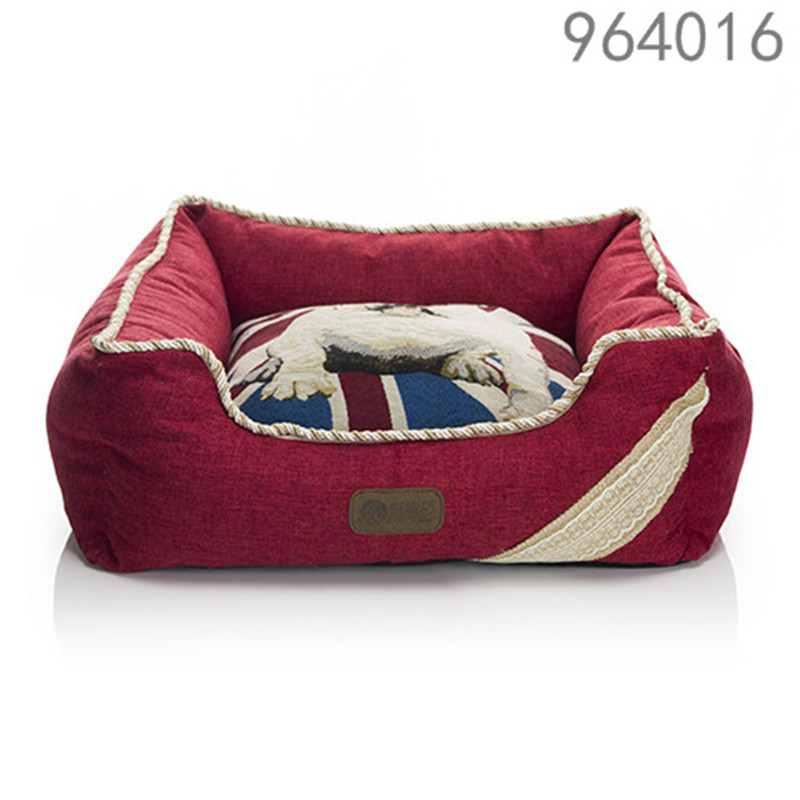 the best selling price luxury home garden pet prodcuts linen red squares washable pet cat dog beds for puppies midium dogs