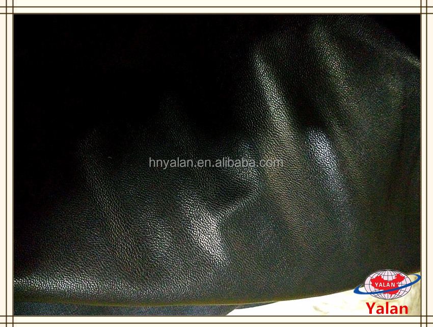 Popular sheep skin pattern pu synthetic leather faux/artificial/fake leather with 100% viscose back