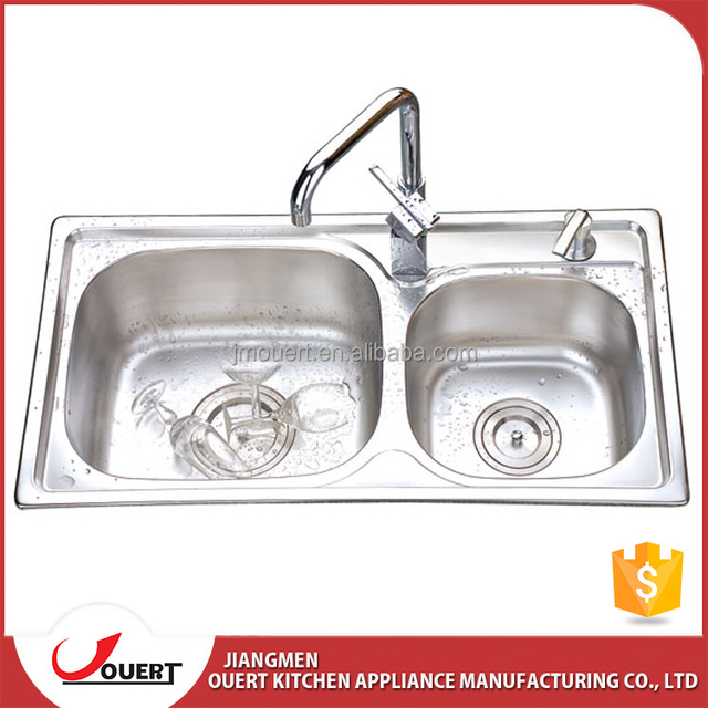 Top quality China topmount stainless steel double bowl kitchen 304 kitchen sink