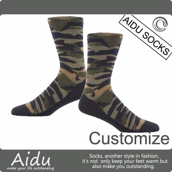 Wholesale China Sock Manufacturer Men's Khaki Knitted Camo Custom Socks