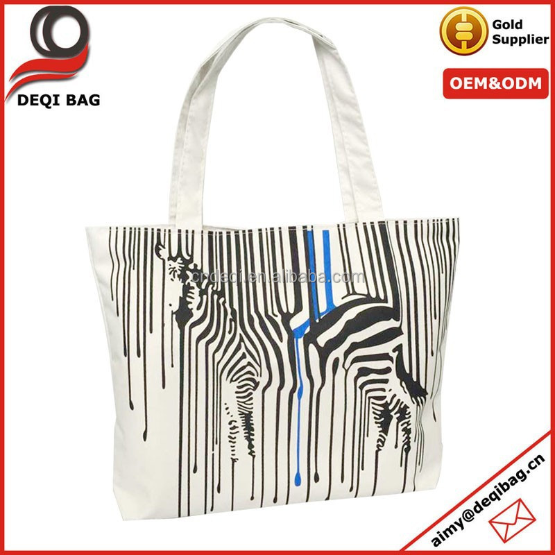Fashion Women Girl's Shopping Shoulder Bags Zebra Print Canvas Tote Handbag Purse