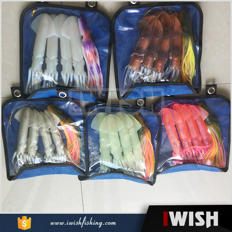 4 Squid Lures And 1 Resin Head Lures Bag Packed Fishing Daisy Rig